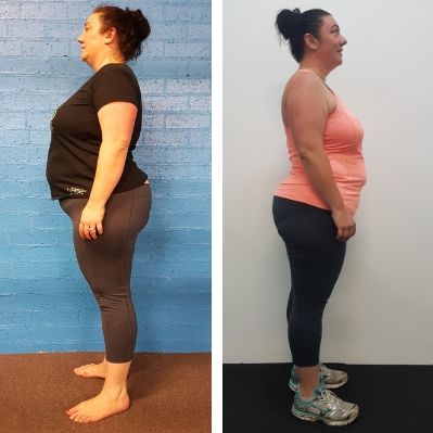 Body Revival Wollongong 8 week fitness Challenge. Before and after photo Bec